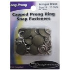 Snap Source Capped Long-Prong Snaps Size 24 10/Pkg-Antique Brass Multi-Colored