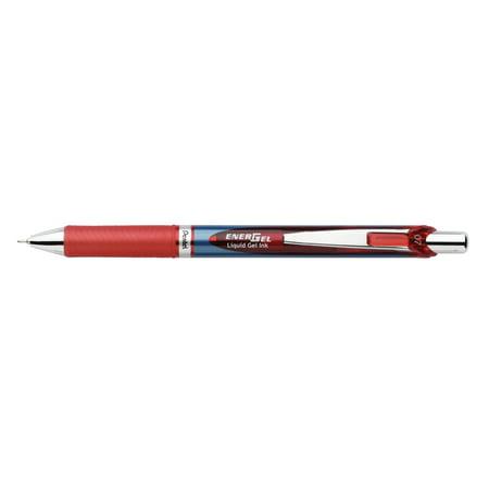 EnerGel RTX Retractable Liquid Gel Pen (0.7mm) Needle Tip, Medium Line, Red Ink