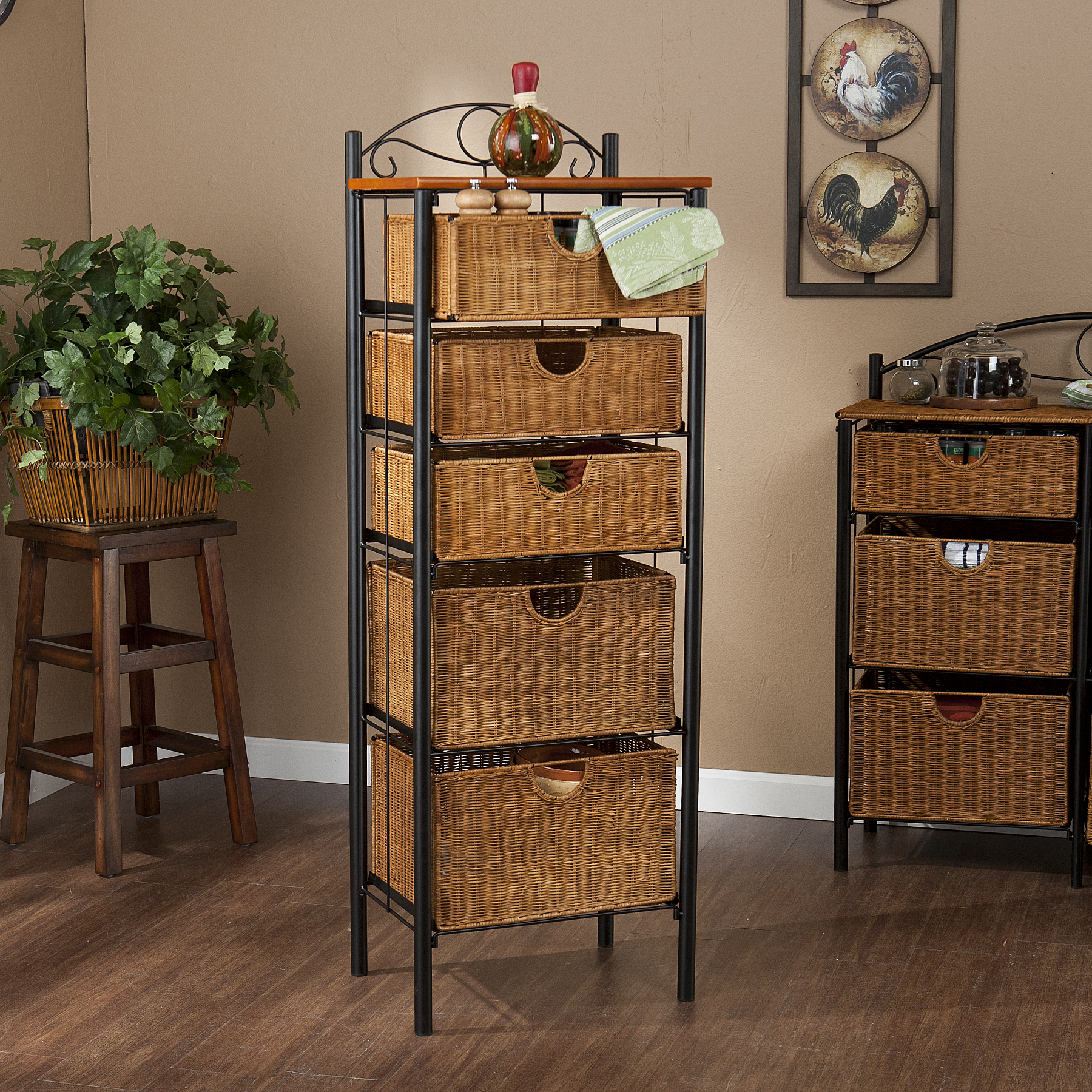 Southern Enterprises Iron And Wicker Five Drawer Unit