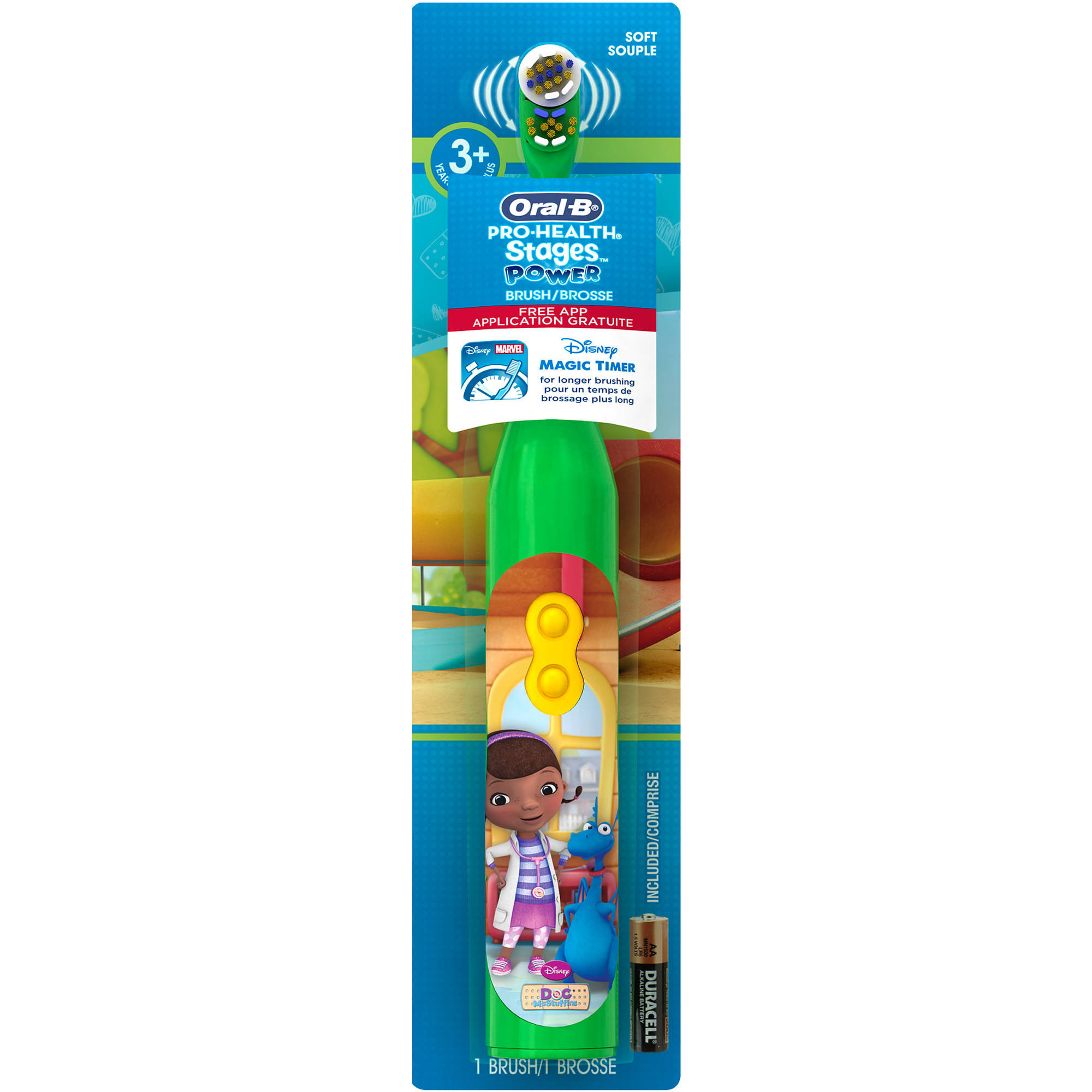 Oral-B Pro-Health Stages Disney Doc McStuffins Battery Toothbrush for Kids with FREE Disney Magic Timer App