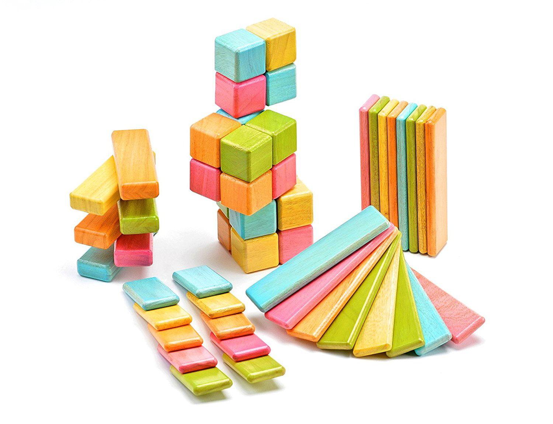 52 Piece Tegu Original Magnetic Wooden Block Set, Tints by Tegu