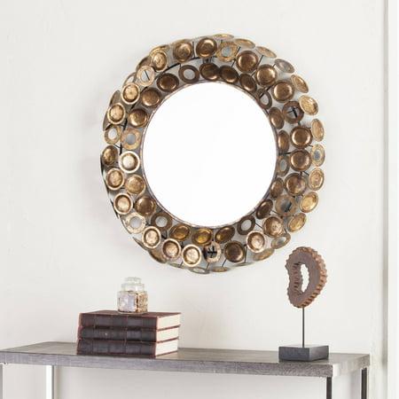 Southern Enterprises Julios Round Decorative Mirror  Gold And Copper