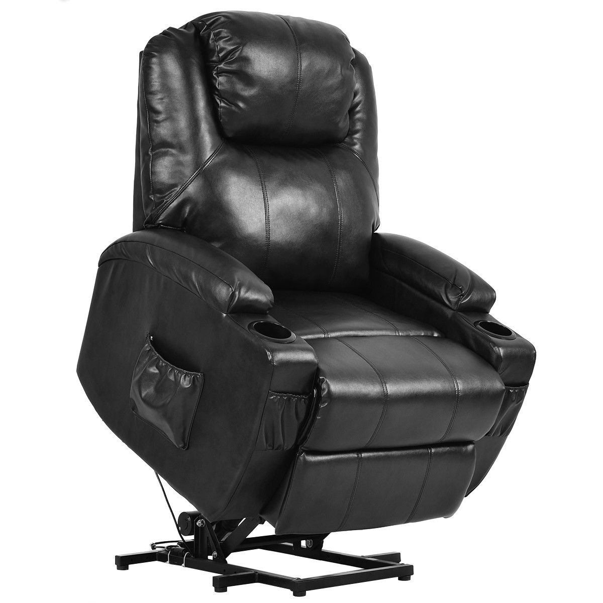 Costway Electric Power Lift Chair Recliner PU Leather Padded Seat w/ Remote & Cup Holder