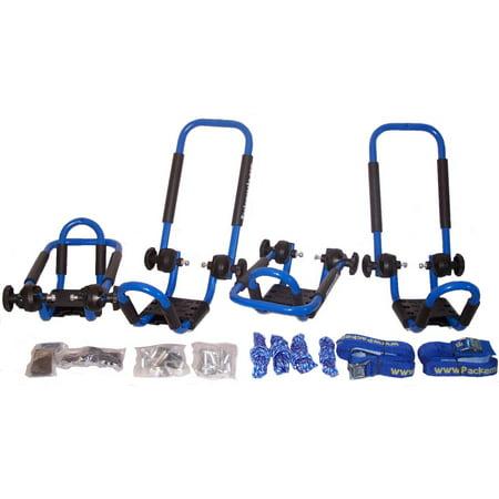 Folding J-style Kayak Rack Roof Top Rack - 2 Sets -In Many Fun Colors (Bright Blue) (Folding Kayak Rack)