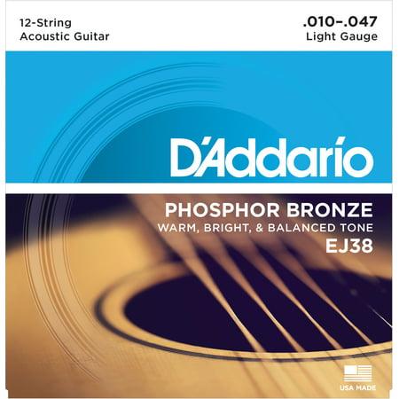 D'Addario EJ38 12-String Phosphor Bronze Acoustic Guitar Strings, Light,