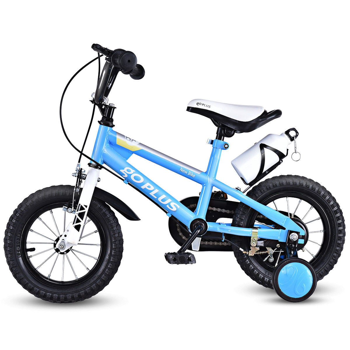 Goplus 12'' Freestyle Kids Bike Bicycle Children Boys & Girls w Training Wheels Blue by Costway