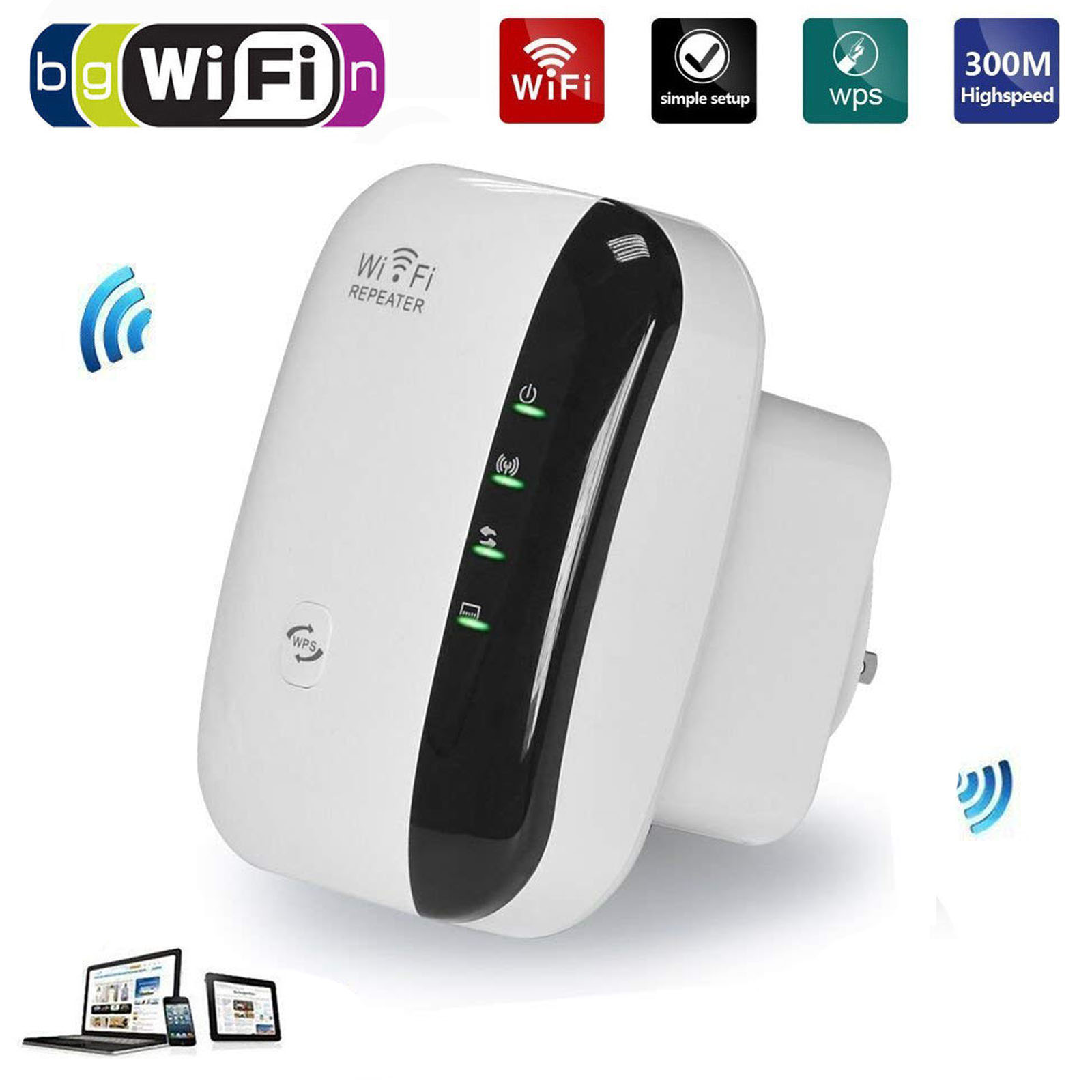 300Mbps 2.4GHz WiFi Repeater AP Router Range Extender Signal Amplifier Booster