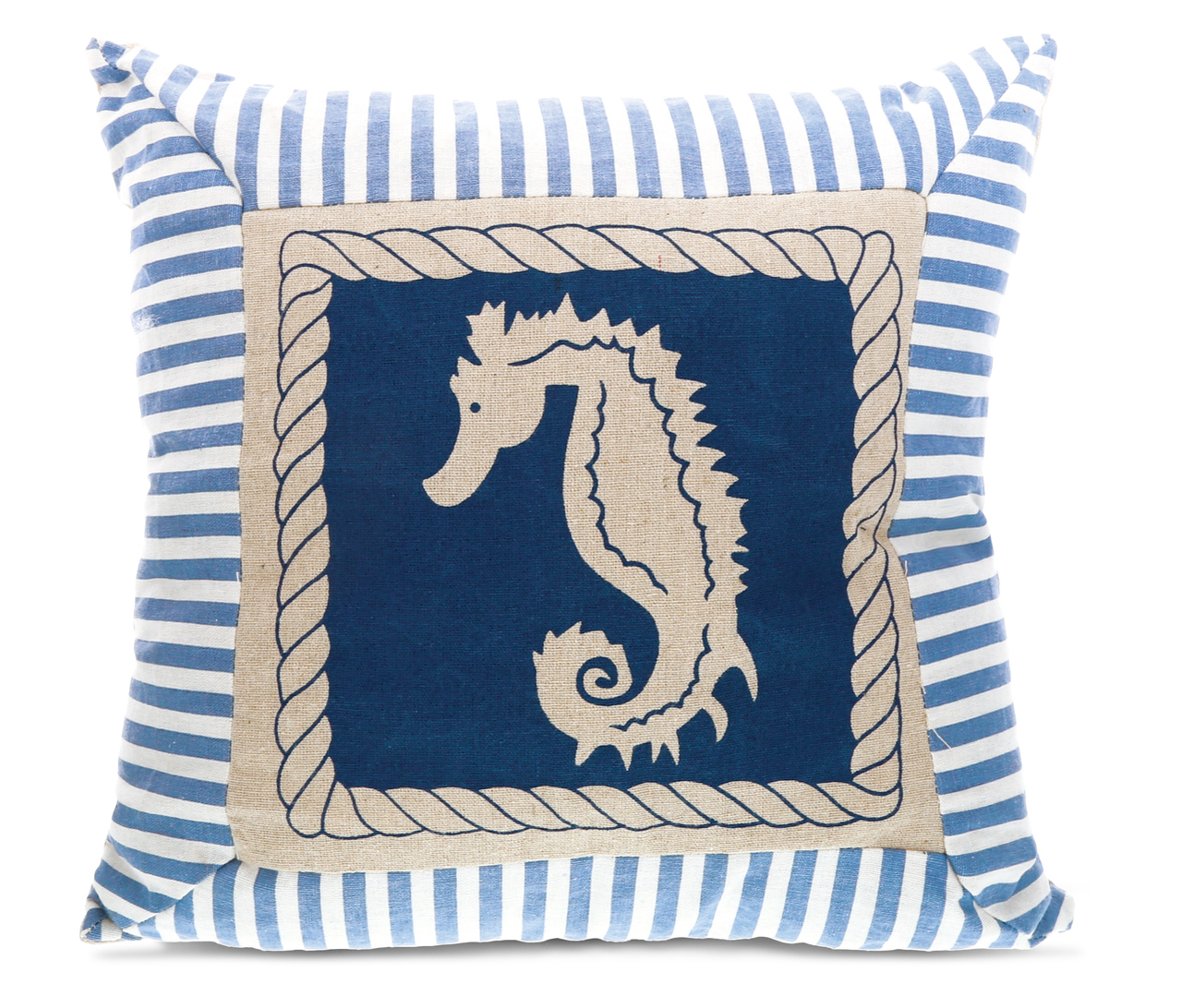 Nautical Decor CoTa Global Aqua Sea Horse Throw Pillow by CoTa
