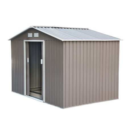 outsunny 9 x 6 outdoor backyard metal garden utility storage shed gray - Garden Sheds 9x6