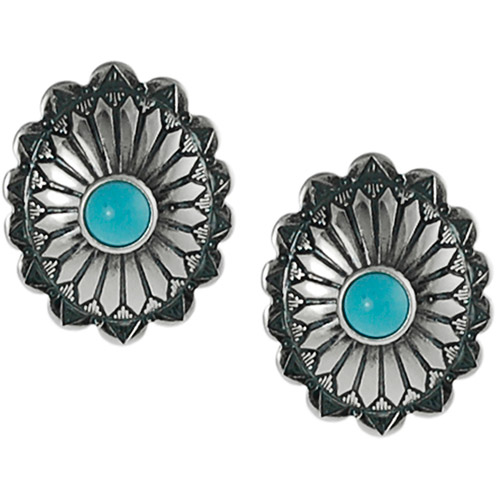 Brinley Co. Created Turquoise Sterling Silver Ornate Stud Earrings