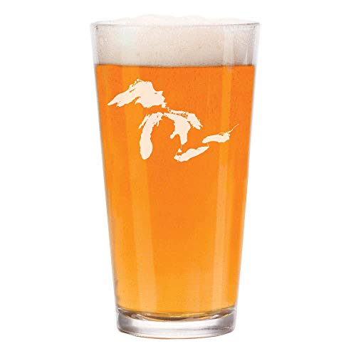 16 oz Beer Pint Glass Great Lakes Michigan