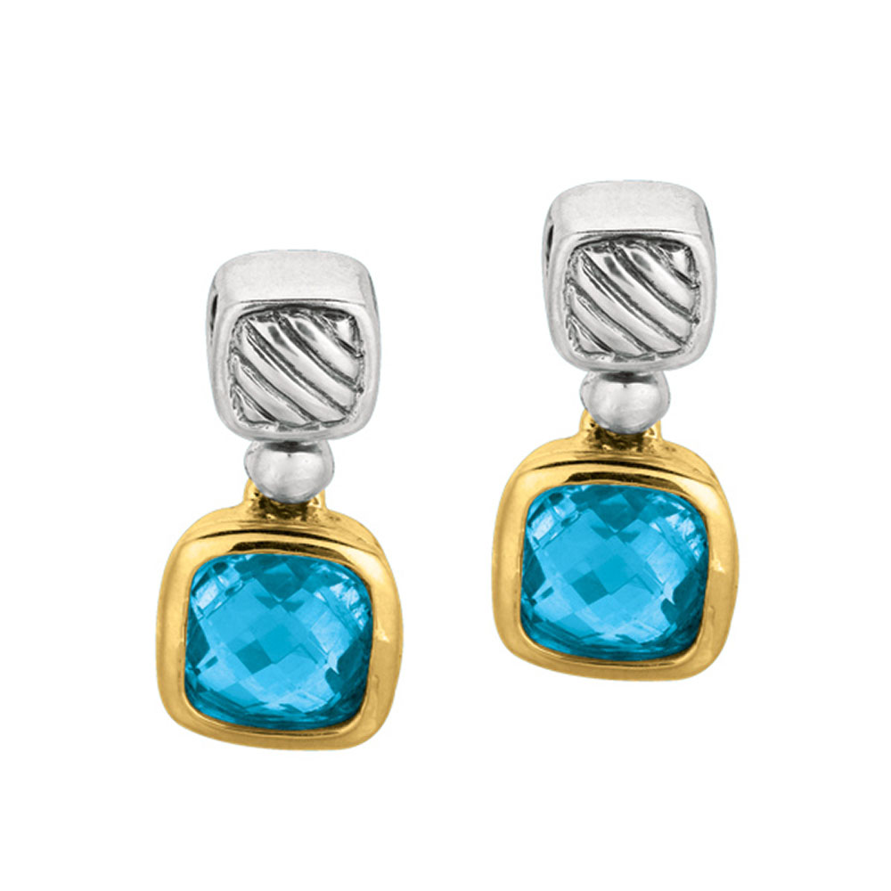 Phillip Gavriel Sterling Silver & 18k Gold Blue Topaz Earrings