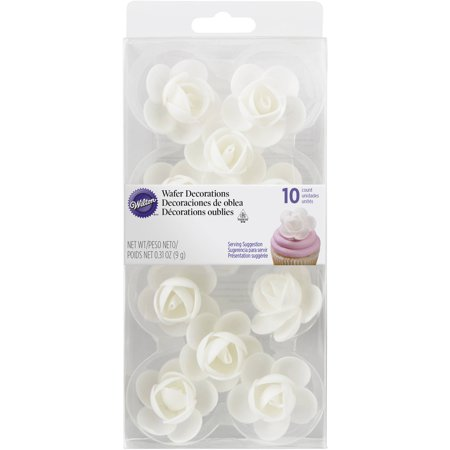Flowers Treat (Wilton Rose Edible Wafer Paper Decorations, 10-Count)