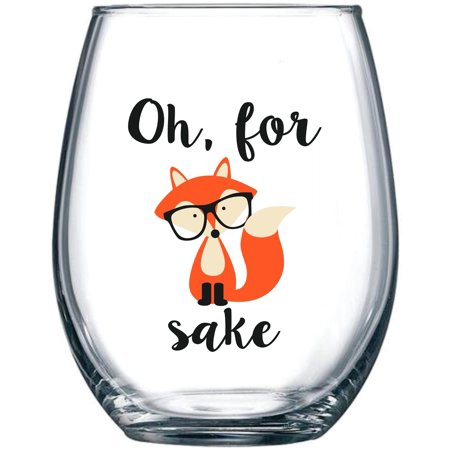 Oh, For Fox Sake 15 oz Stemless Funny Glass   Unique Fox Themed Birthday Gifts For Men or Women   Fox Lover Gifts For Him or Her   Perfect Gift Idea For Office Coworker and Best