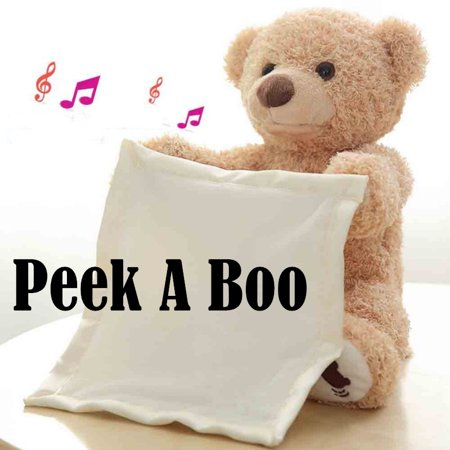 Peek a Boo Teddy Bear And Cartoon Elephant Stuffed Animals Doll, Moving Singing Toy Great As Baby Birthday Present