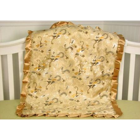 SoHo Baby Infant Blanket, Silky Soft Chenille (Golden Dragon)