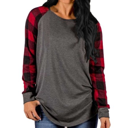 Womens O Neck Long Sleeve Plaid Patchwork -