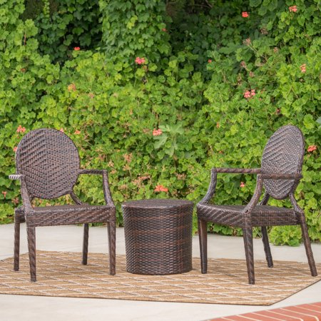 Anaheim 3 Piece Set - Anaheim Outdoor 3 Piece Wicker Stacking Chair Chat Set with Round Drum Table, Multibrown