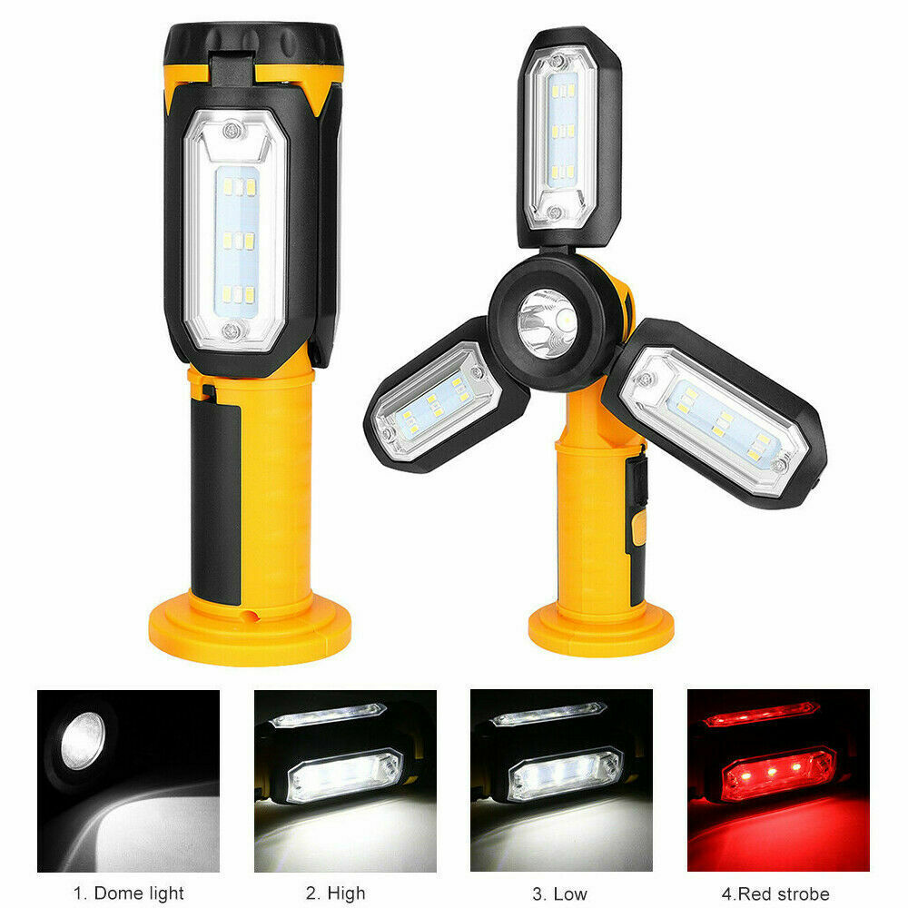 LED Hand Torch COB Garage Inspection Lamp Work Light Magnetic USB Rechargeable