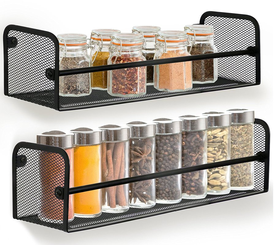 Greenco Wall Mount Single Tier Mesh Spice Rack, Black, Set 2 by