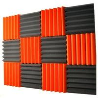 2x12x12-12PK ORANGE/CHARCOAL Acoustic Wedge Soundproofing Studio Foam