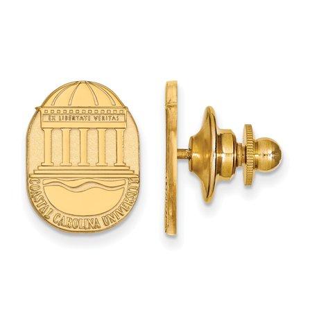 - Solid 14k Yellow Gold Coastal Carolina University Crest Lapel Pin (11mm x 15mm)