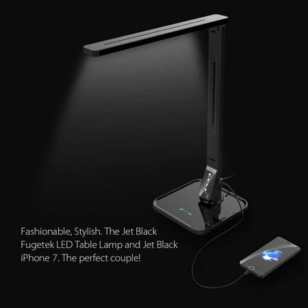Norman Modeling Lamp - LED Desk Lamp Fugetek FT-L798, Exclusive Model with Recessed LEDs, 5-Level Dimmer, Touch Control Panel, 1-Hour Auto Timer, 5V/1A USB Charging Port - Jet Black (Black)