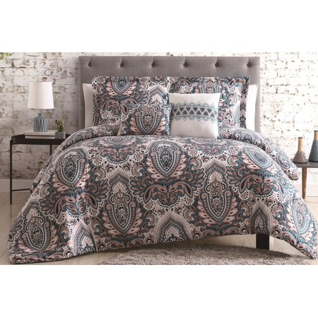 5pc Mandala Comforter Sets Queen King Blue Coral Navy
