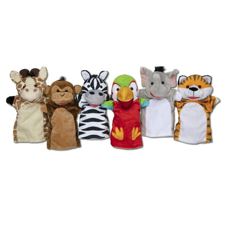 Melissa & Doug Safari Buddies Hand Puppets, Set of 6 (Elephant, Tiger, Parrot, Giraffe, Monkey, (Seek Safari Monkey)