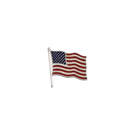 14k White Gold American Flag Lapel Pin 17.5x17mm Color - 2.8 Grams