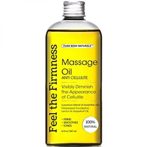 Pure Body Naturals Massage Oil & Firmness Oil - Muscle Relaxation Oil, Helps Make Skin Firm, Reduces Fat Appearance, Muscle Rub Oil and Massager, 8 fl. oz.