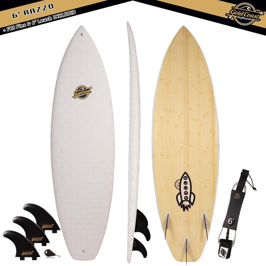 Gold Coast Surfboards 6 Razzo Pro Series Surfboard Hybrid High Performance Foam Surfboard (+ Fins Leash Package) by Gold Coast Surfboards
