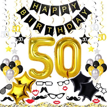 50th Birthday Decorations Kit 70 Pieces AEUR Happy Banner 40 Inch