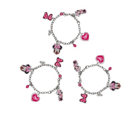 Girls Minnie Mouse Charm Bracelets 3-PACK](Girls Charm Bracelets)