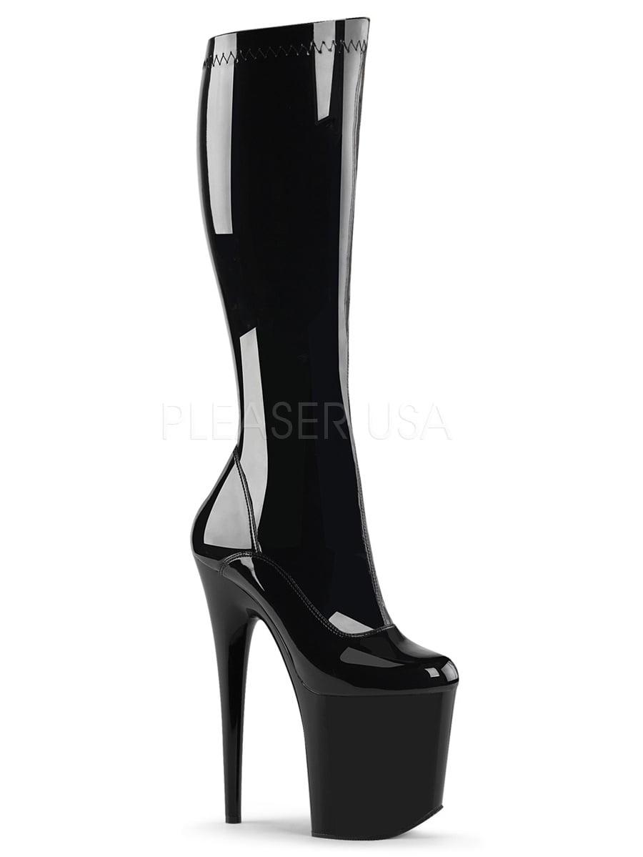 FLAMINGO-2000, 8'' Knee Heel 4'' Platform Stretch Knee 8'' Boot 10b3a0