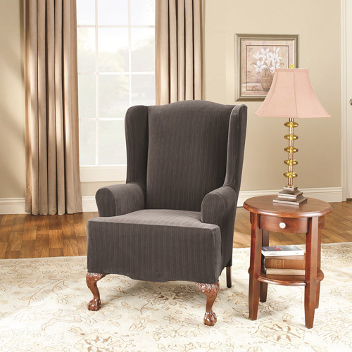 Surefit Stretch Pinstripe 2-Piece Wing Chair Slipcover, Black