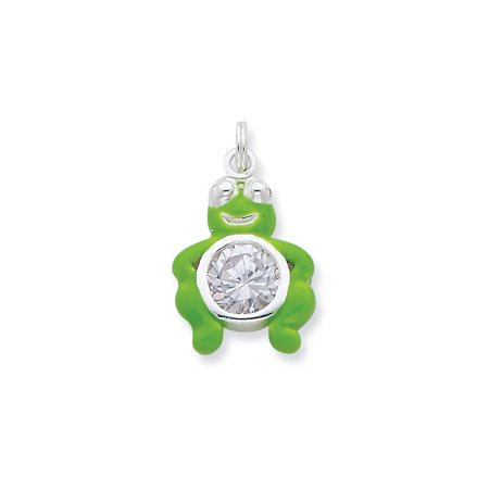 - Sterling Silver CZ Green Enameled Polished Frog Charm