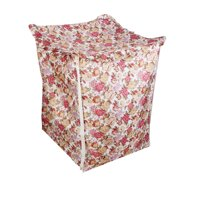 Unique Bargains Polyester Flower Pattern Zippered Closure Washing Machine Dust Cover