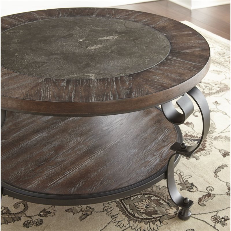 Bowery Hill Round Coffee Table in Weathered Brown - image 1 of 2
