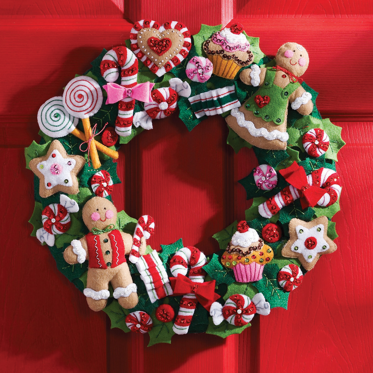 Bucilla Felt Wreath Kit, Cookies and Candy
