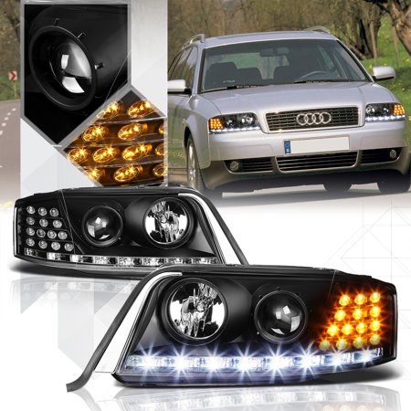 Black Projector Headlight White Drl Amber Led Turn Signal For 98 02