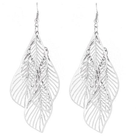 Lady Hollow Leaf Shape Dangle Chandelier Fish Hook Earrings Silver Tone Pair ()