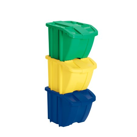 Suncast 18 Gallon Resin Recycle Bin 3-Pack Kit, Multi-Colored, (Put The Recycle Bin In The Recycle Bin)