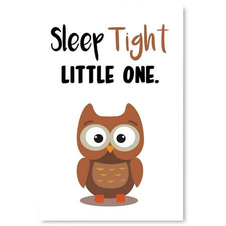 Awkward Styles Cute Owl Illustration Lovely Quotes Artwork Inspirational Wall Art Decor Kids Bedroom Decor Ideas Owl Poster Wall Art Unframed Artwork Sleep Tight Little One Baby Bedroom Decor ()