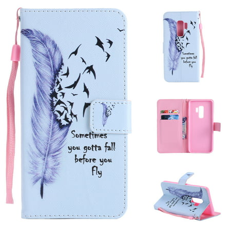 - Galaxy S9+ Plus Case, Galaxy S9+ Plus Cover, Allytech Colorful Pattern PU Leather Folio Stand Cases and Covers Wallet Function Shell for Samsung Galaxy S9+ Plus Phone, Feather