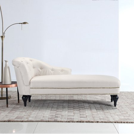 Classic Tufted Button Linen Fabric Living Room Chaise Lounge with Nailhead Trim, Beige