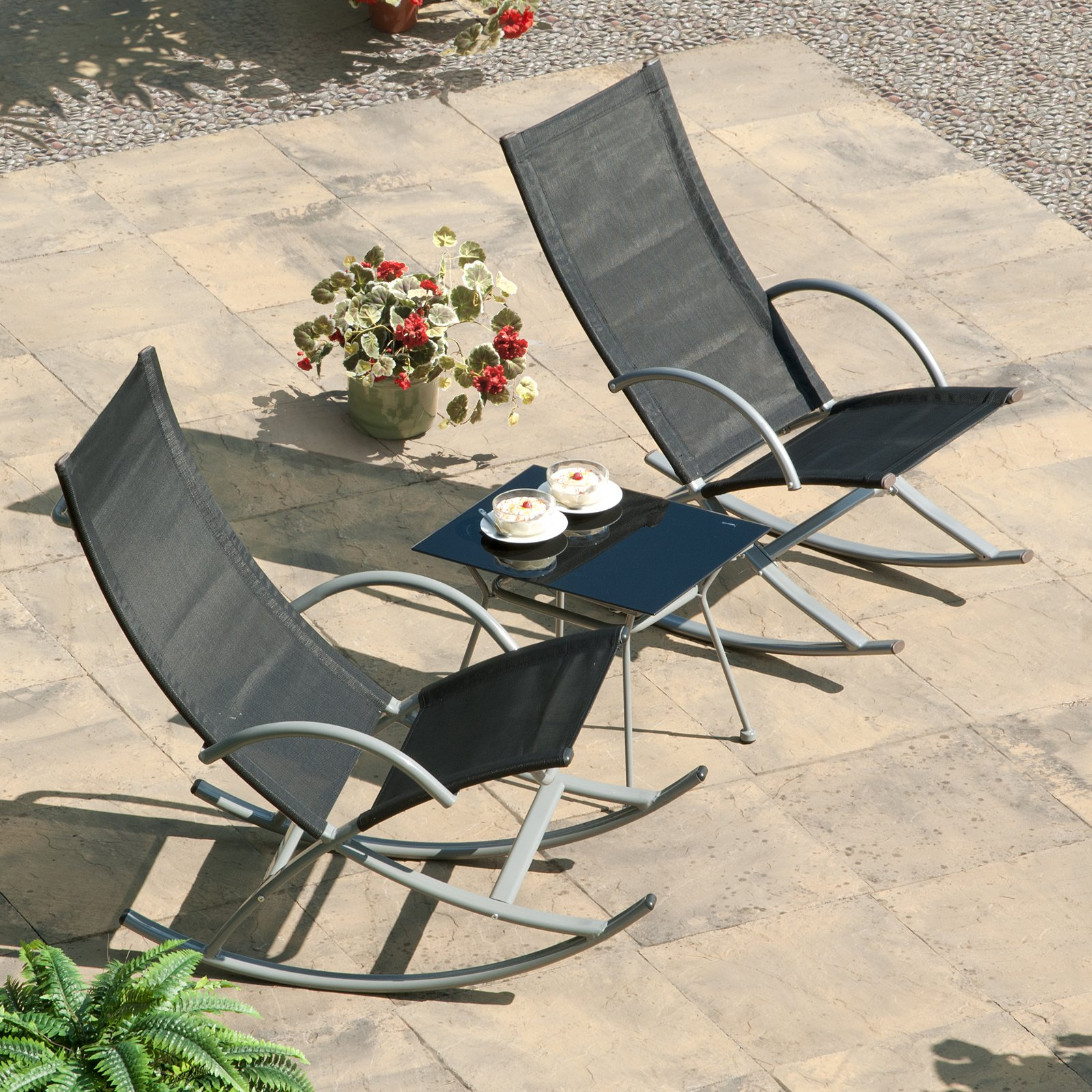 Transcontinental 3-piece Black Outdoor Rocking Chair and Table Set