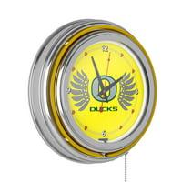University of Oregon Chrome Double Rung Neon Clock - Wings