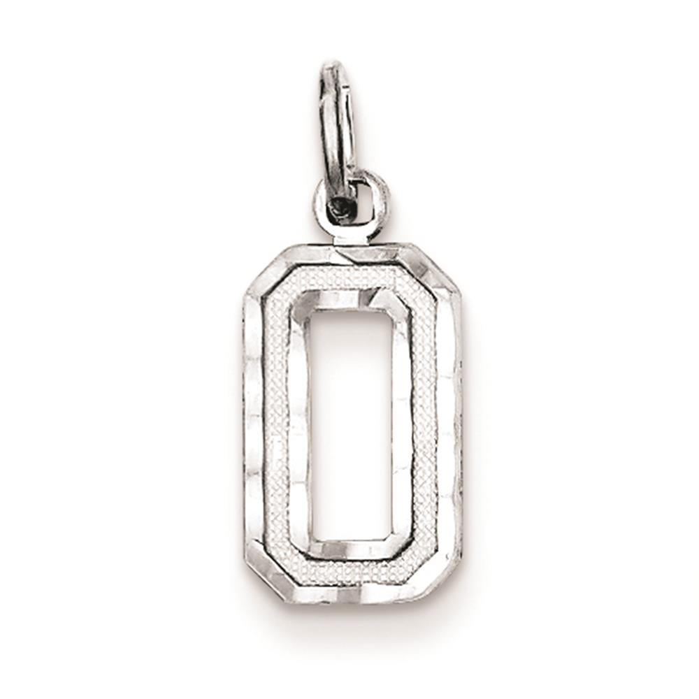 925 Sterling Silver Diamond Cut Small #0 Solid Charm Pendant