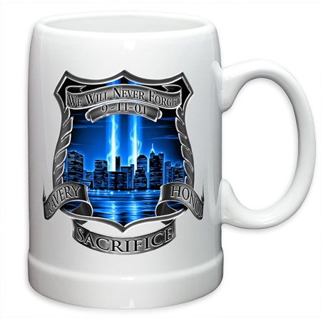 German Beer Stein – Police Officer Gifts for Men or Women – Law Enforcement Stoneware Beer Stein –Tribute High Honor Police Beer Glasses with Logo - Set of 24 (20 Ounces)